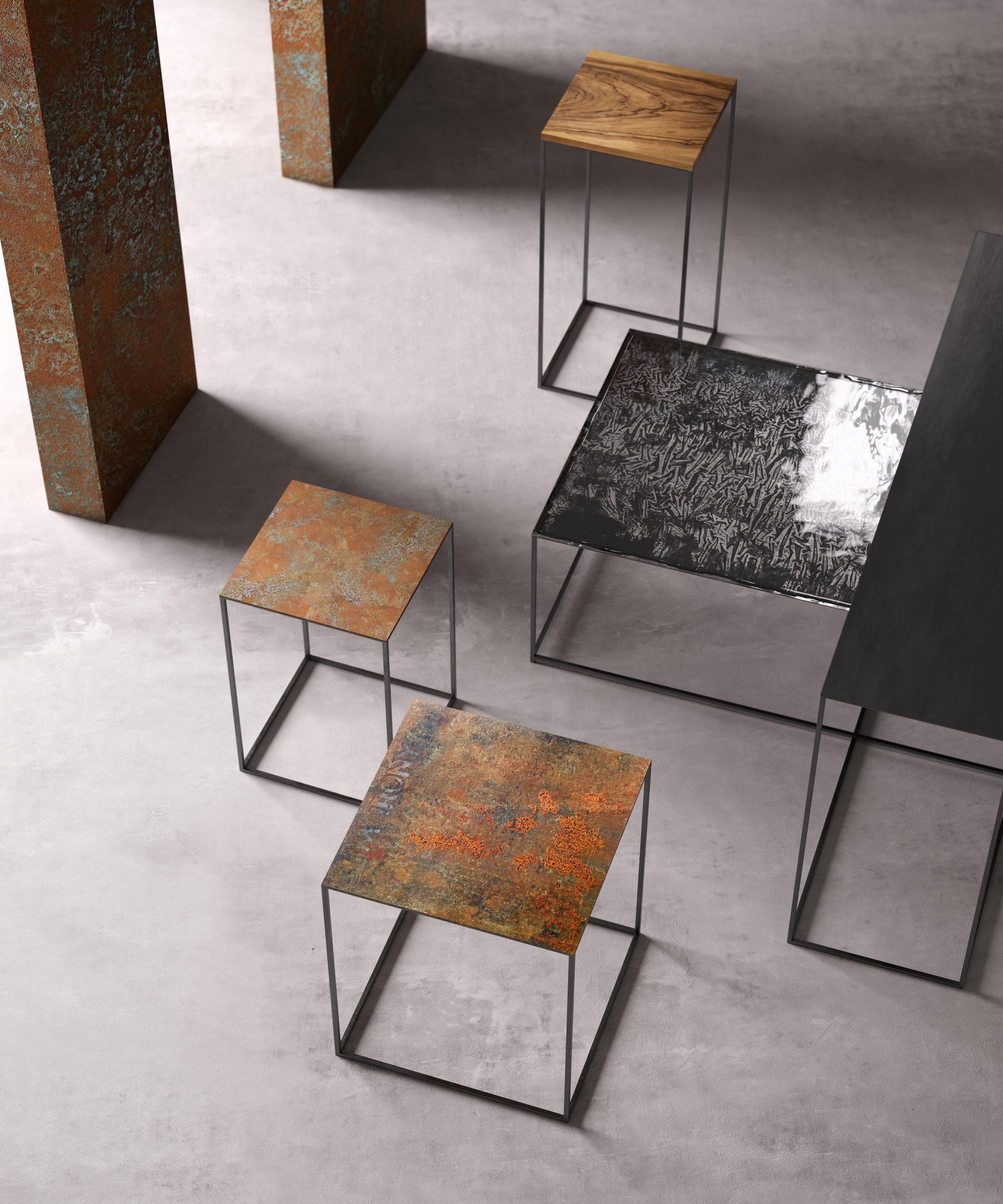 table basse slim irony art zeus m tal fondu pied noir. Black Bedroom Furniture Sets. Home Design Ideas
