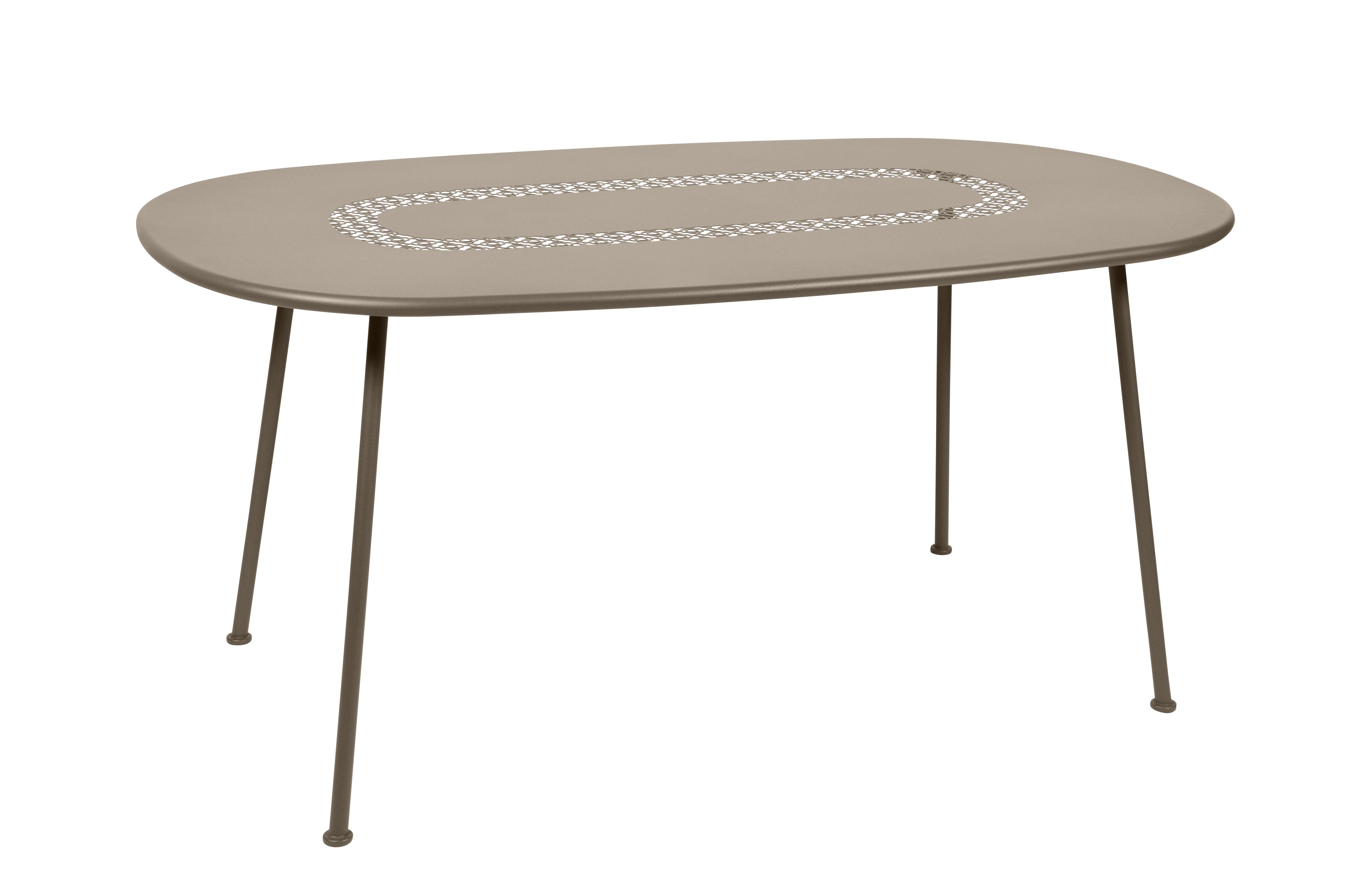 Outdoor - Tables de jardin - Table ovale Lorette / 160 x 90 cm - Métal perforé - Fermob - Muscade - Acier laqué