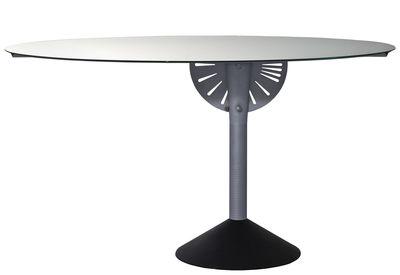 Tendances - Espace Repas - Table pliante Psiche / Transformable en miroir - Réédition 1989 - Driade - Miroir / Pied : gris foncé - Aluminium, Fonte, Verre