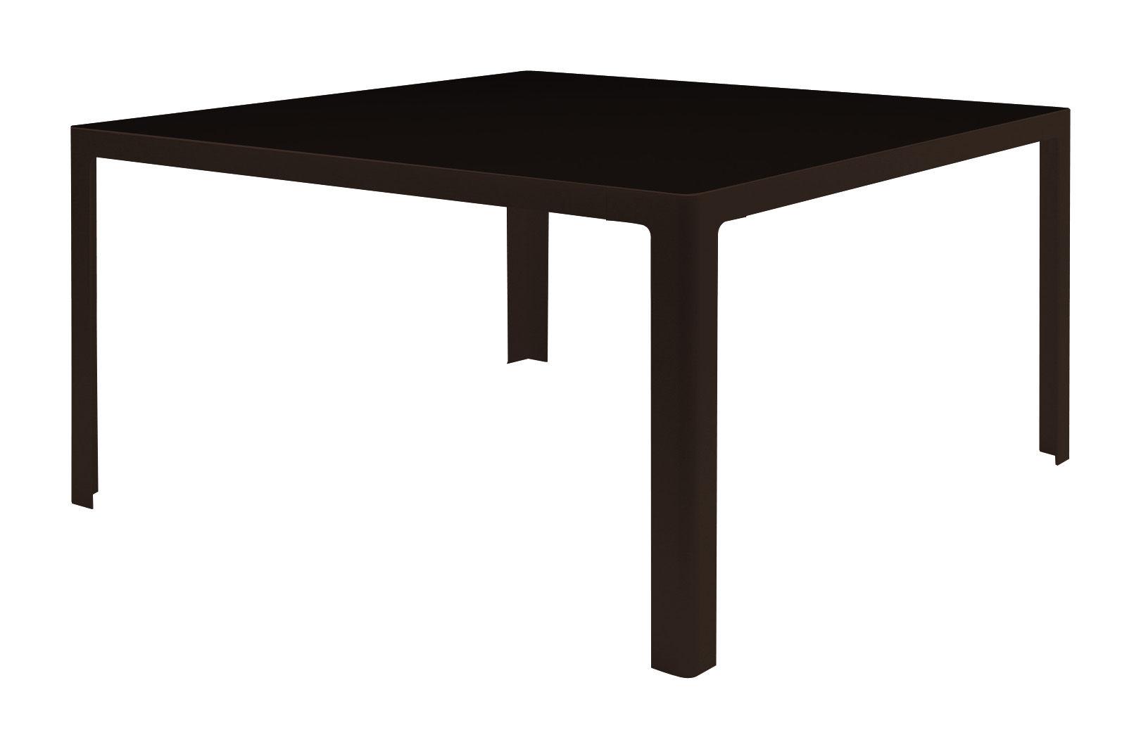 Möbel - Tische - Metisse Tisch - quadratisch - 140 x 140 cm - Zeus - Tischplatte schwarz - Gestell kupferschwarz - Glas, Stahl