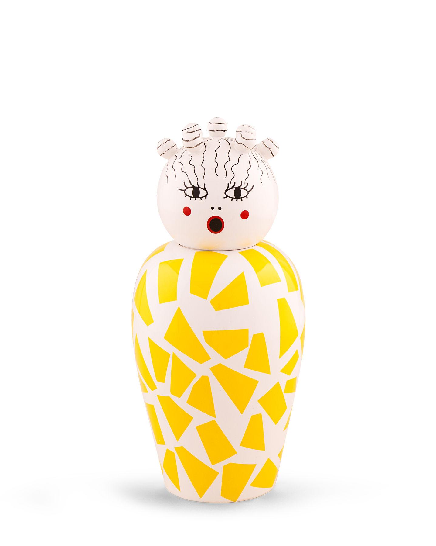 Déco - Vases - Vase avec couvercle Canopie Rosio / Avec couvercle - Seletti - Rosio / Jaune - Porcelaine peinte