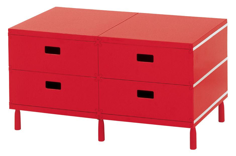 Möbel - Möbel für Teens - Plus Unit Ablage 4 Schubladen - Magis - Rot - ABS