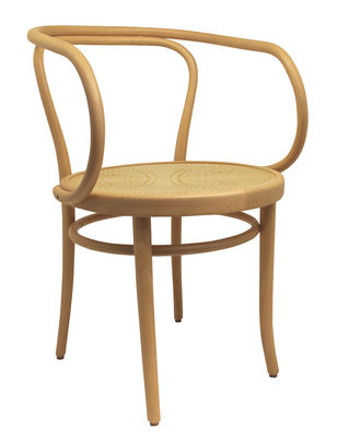 Furniture - Chairs - Wiener Stuhl Armchair - / Perforated seat - 1904 reissue by Wiener GTV Design - Natural wood - Curved solid beechwood, Perforated beechwood plywood