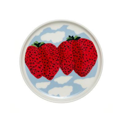 Arts de la table - Assiettes - Assiette à mignardises Mansikkavuoret / Ø 13,5 cm - Marimekko - Mansikkavuoret / Blanc, rouge, bleu - Grès