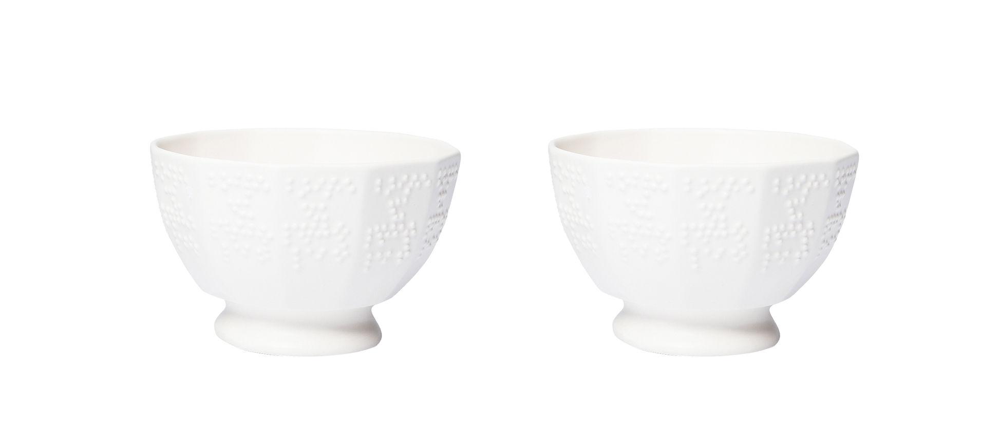Arts de la table - Saladiers, coupes et bols - Bol Figures 1bis / Set de 2 - Petite Friture - Ø 10 - Blanc crème / Motifs en braille - Céramique
