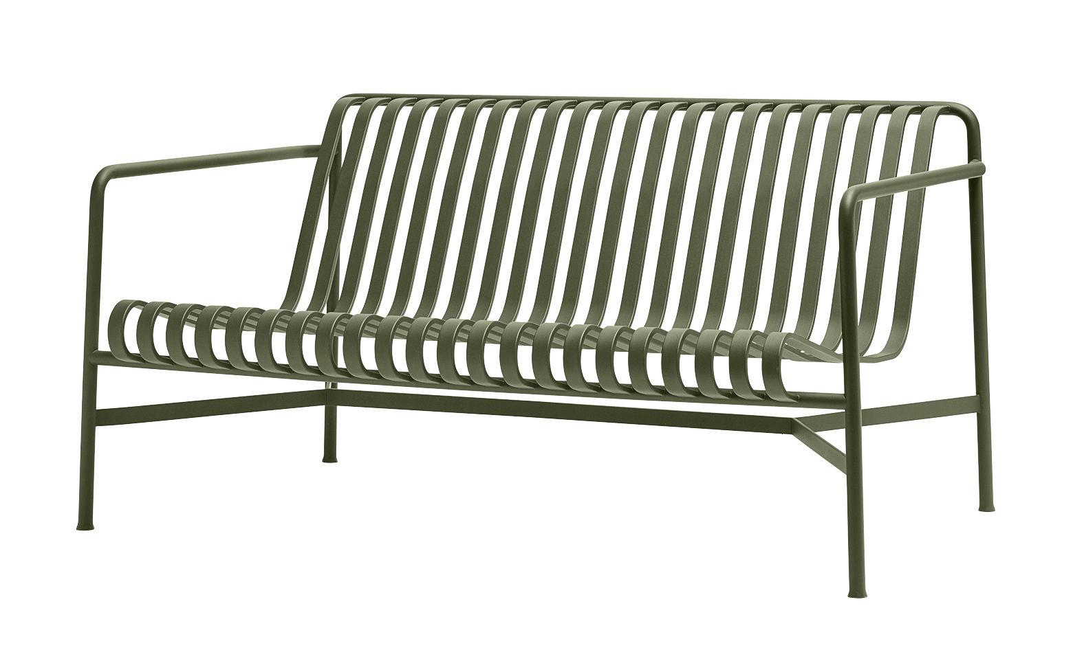 Outdoor - Canapés - Canapé droit Palissade Lounge / L 139 cm - R & E Bouroullec - Hay - Canapé / Vert olive - Acier électro-galvanisé, Peinture époxy