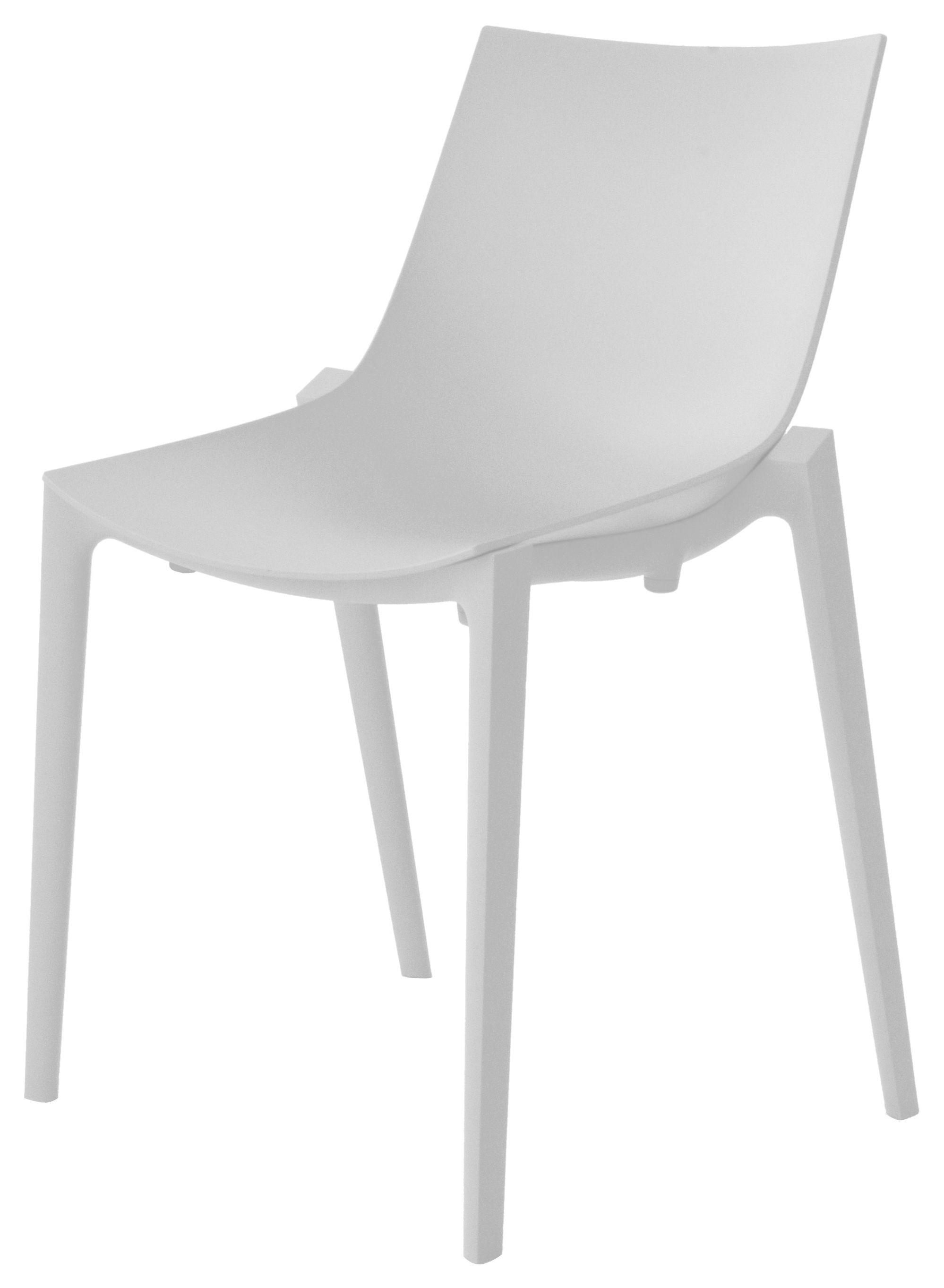 Mobilier - Chaise empilable Zartan Basic /Polypropylène - Magis - Gris clair - Polypropylène renforcé de fibre de verre