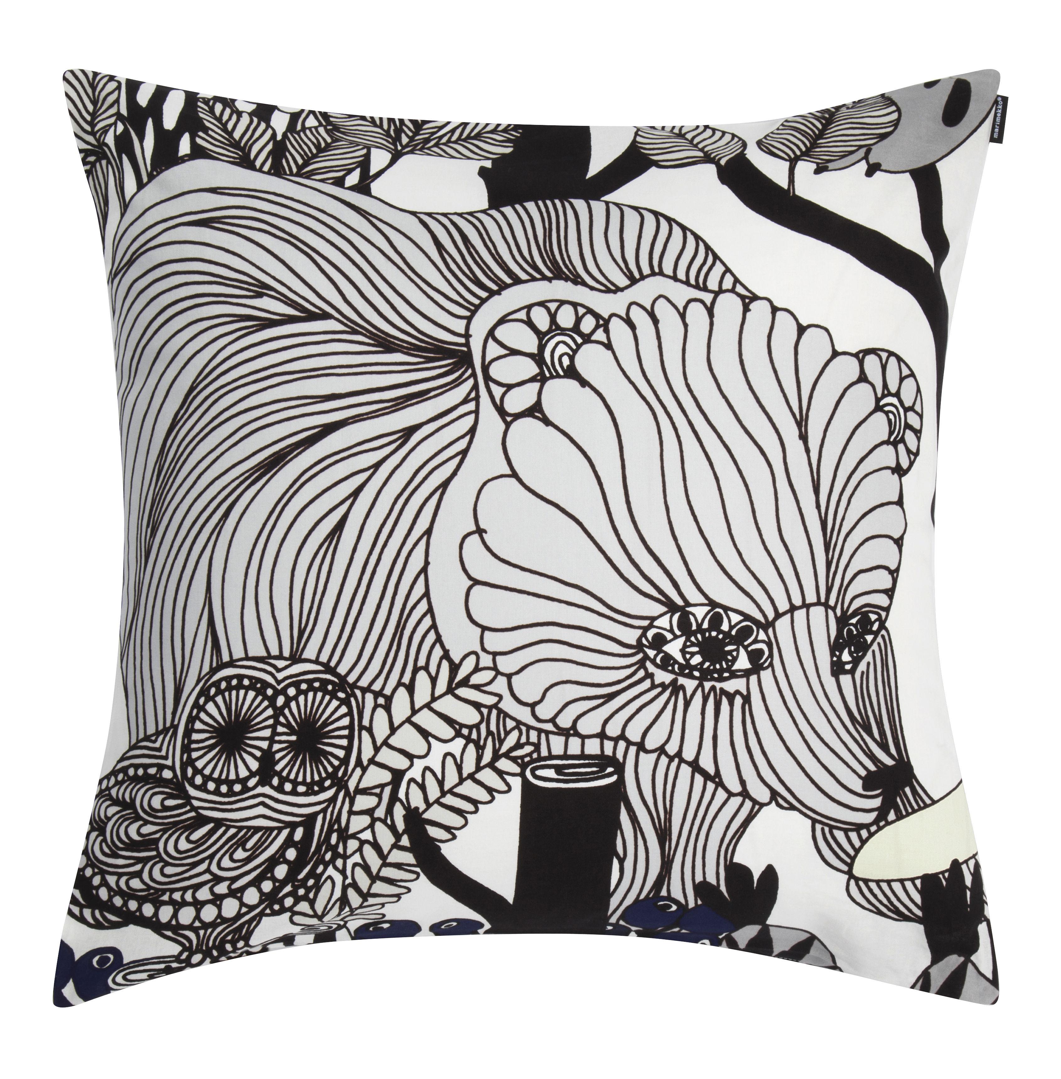 Decoration - Cushions & Poufs - Veljekset Cushion - 50 x 50 cm by Marimekko - Veljekset / Black & White - Cotton