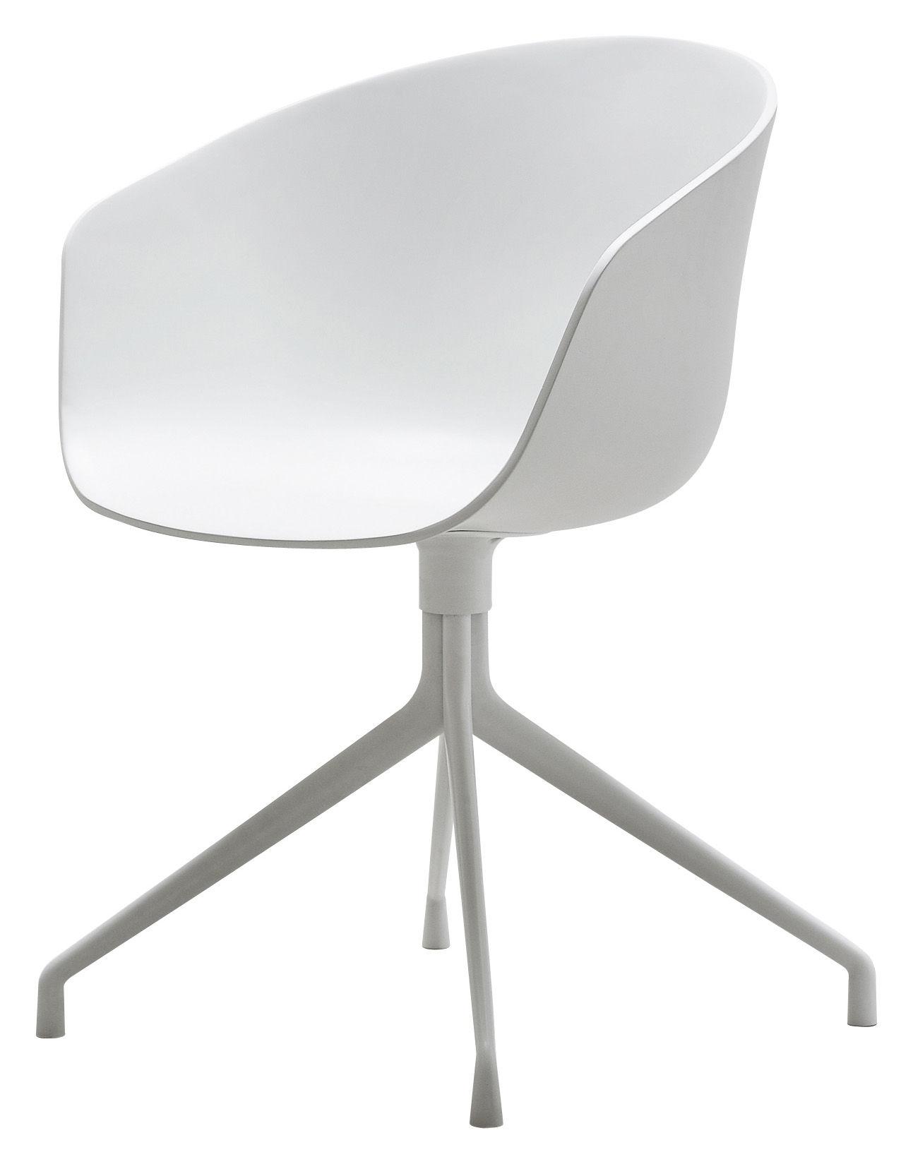 Mobilier - Chaises, fauteuils de salle à manger - Fauteuil pivotant About a chair / 4 pieds - Hay - Blanc / Pied blanc - Fonte d'aluminium laqué, Polypropylène