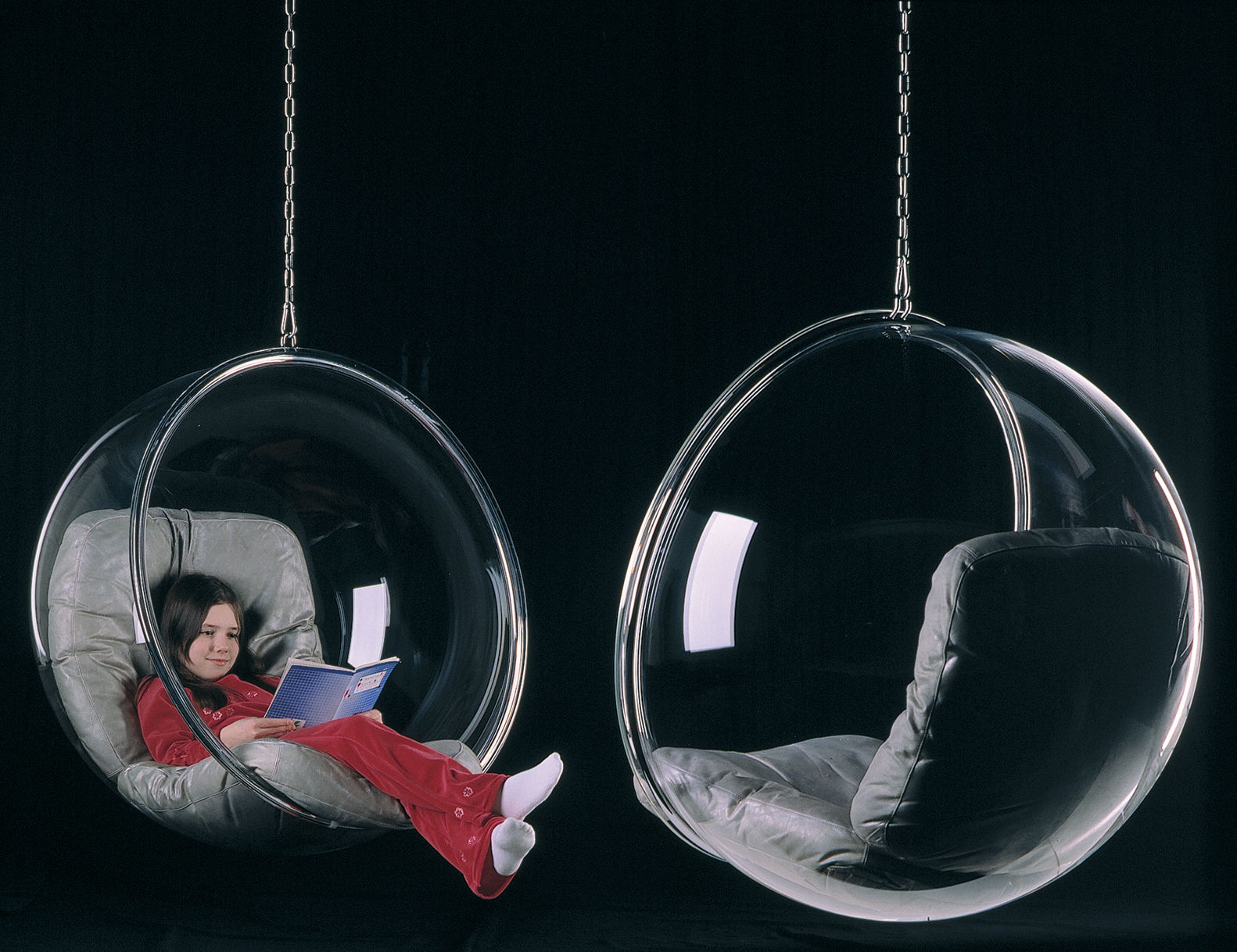 Hanging Armchair Bubble Chair By Adelta Clear Silver Cushions