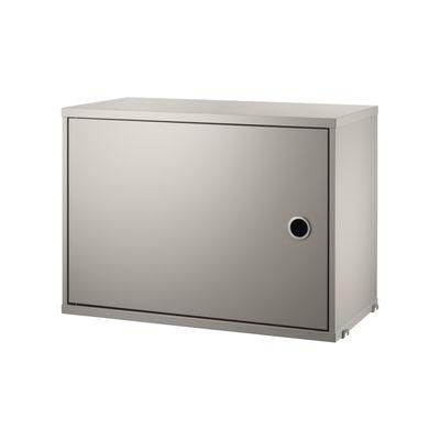 Möbel - Regale und Bücherregale - String® System Kiste / 1 Tür - L 58 x T 30 cm - String Furniture - Beige - lackierte Holzfaserplatte
