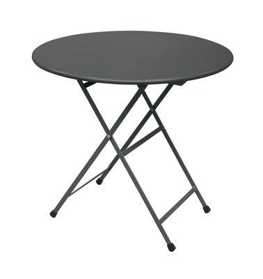 Outdoor - Tische - Arc en Ciel Klapptisch / Ø 80 cm - Emu - Grau - klarlackbeschichteter rostfreier Stahl