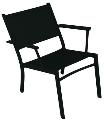 Furniture - Armchairs - Costa Low armchair by Fermob - Liquorice - Aluminium, Polyester cloth