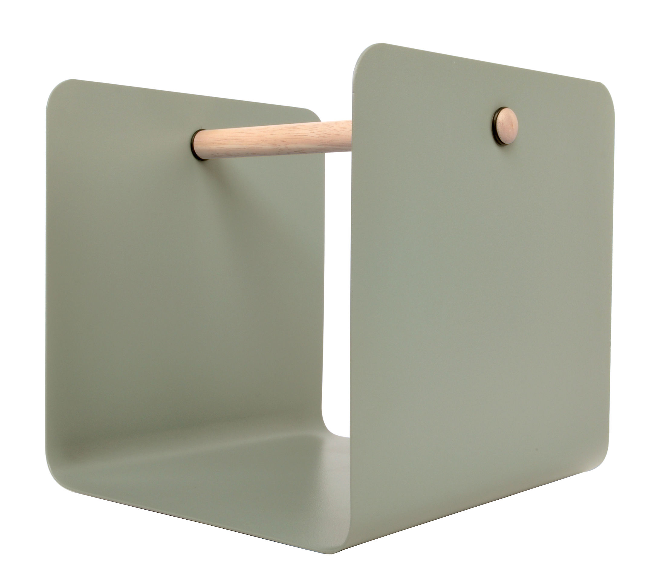 Decoration - Boxes & Baskets - Flow Magazine holder by XL Boom - Clay - Natural wood, Painted steel