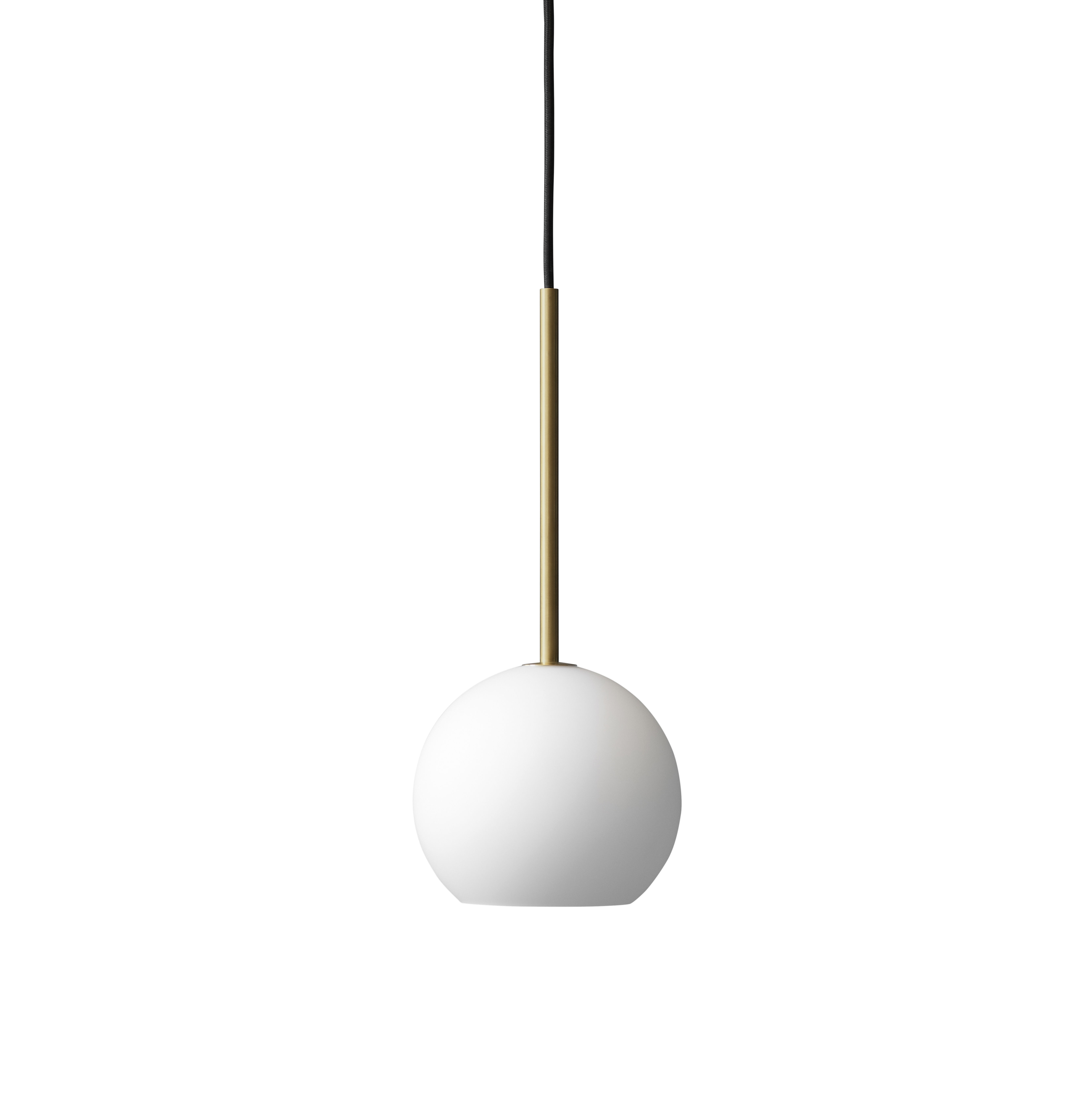 Lighting - Pendant Lighting - Ice SR3 Pendant - / Ø 14 cm - Glass by &tradition - White / Brass - Brass, Fabric, Mouth blown glass