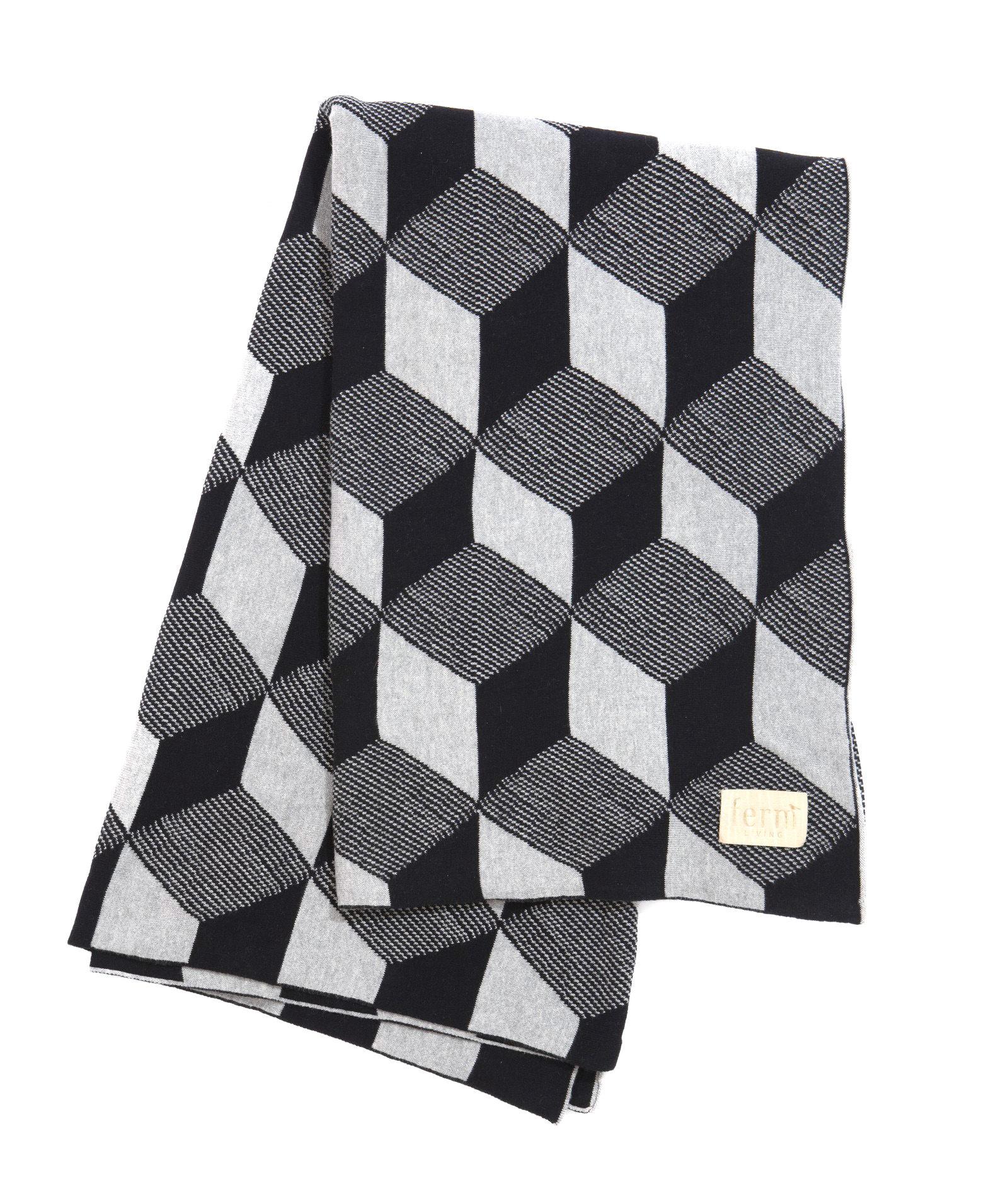 St-Valentin - Pour Lui - Plaid Squares / 150 x 120 cm - Ferm Living - Cubes - Noir & Argent - Coton