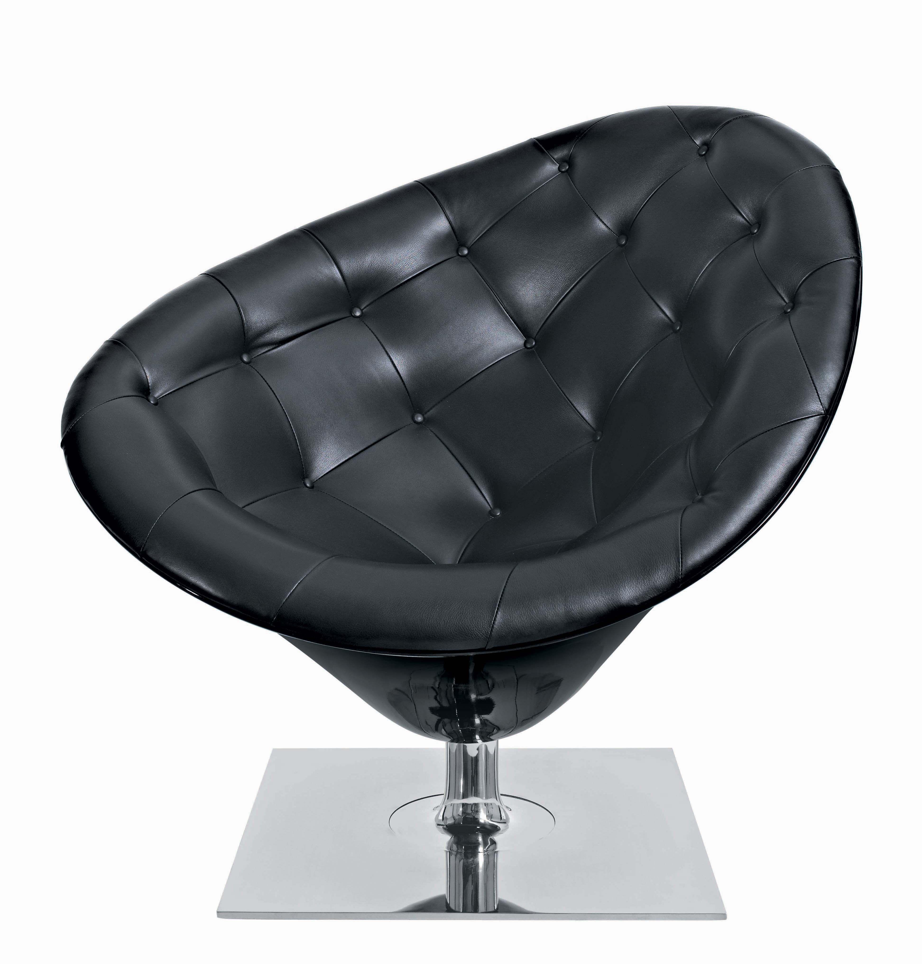 Arredamento - Mobili d'eccezione - Poltrona girevole MOORe - Versione Pelle di Driade - Pelle nera - Acciaio lucidato, Fibra di vetro, Pelle pieno fiore