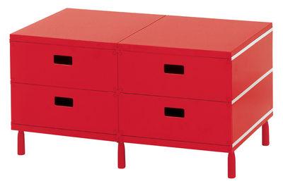 Mobilier - Mobilier Ados - Rangement Plus Unit / 4 tiroirs sur patins - Magis - Rouge - ABS