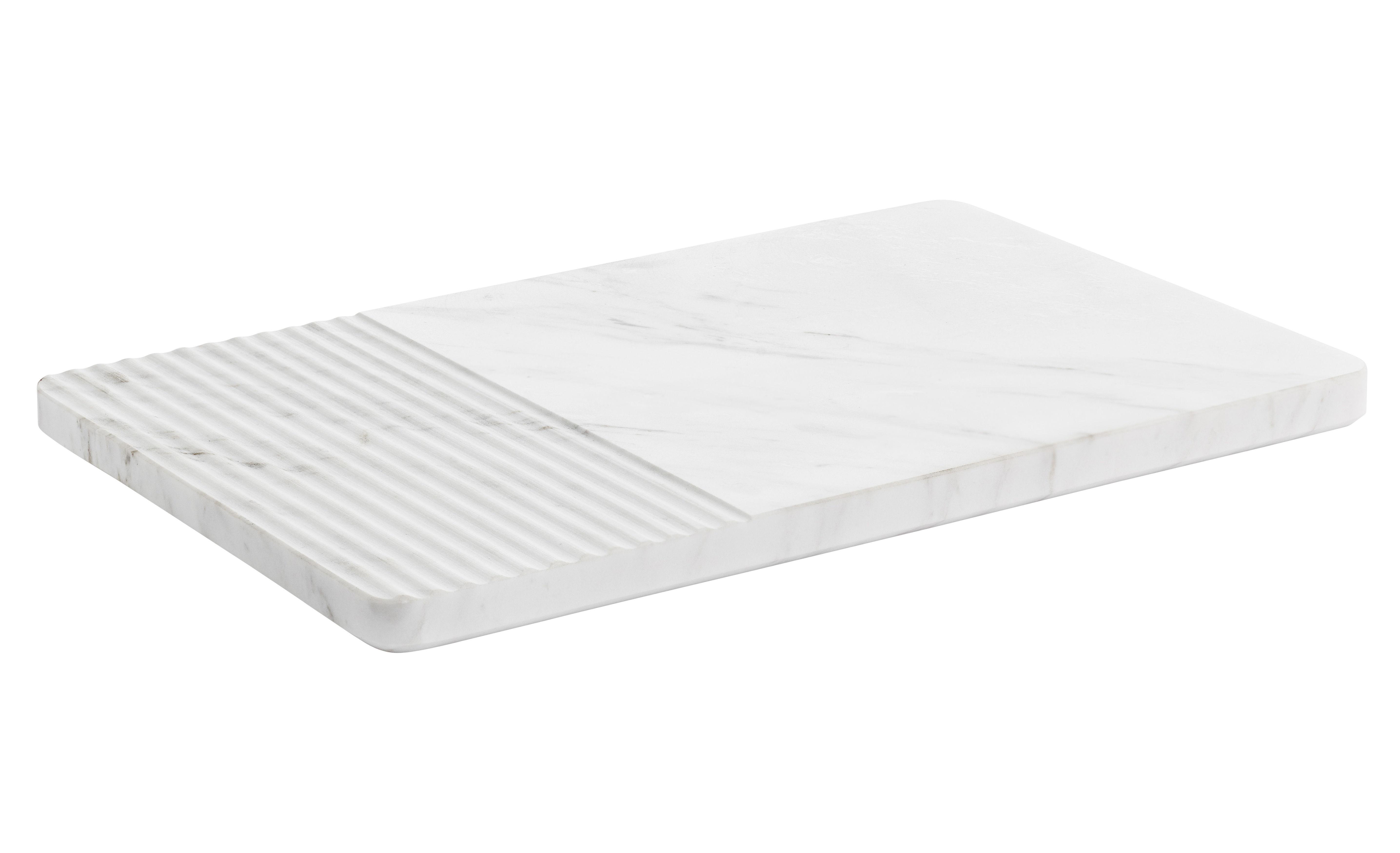 Tischkultur - Topfuntersetzer - Groove Schneidebrett / Tischplatte aus Marmor - 30 x 19 cm - Muuto - Weiß - Marmor