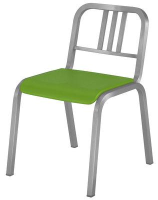 Arredamento - Sedie  - Sedia impilabile Nine-O di Emeco - Alluminio opaco / Verde - Alluminio riciclato, Poliuretano