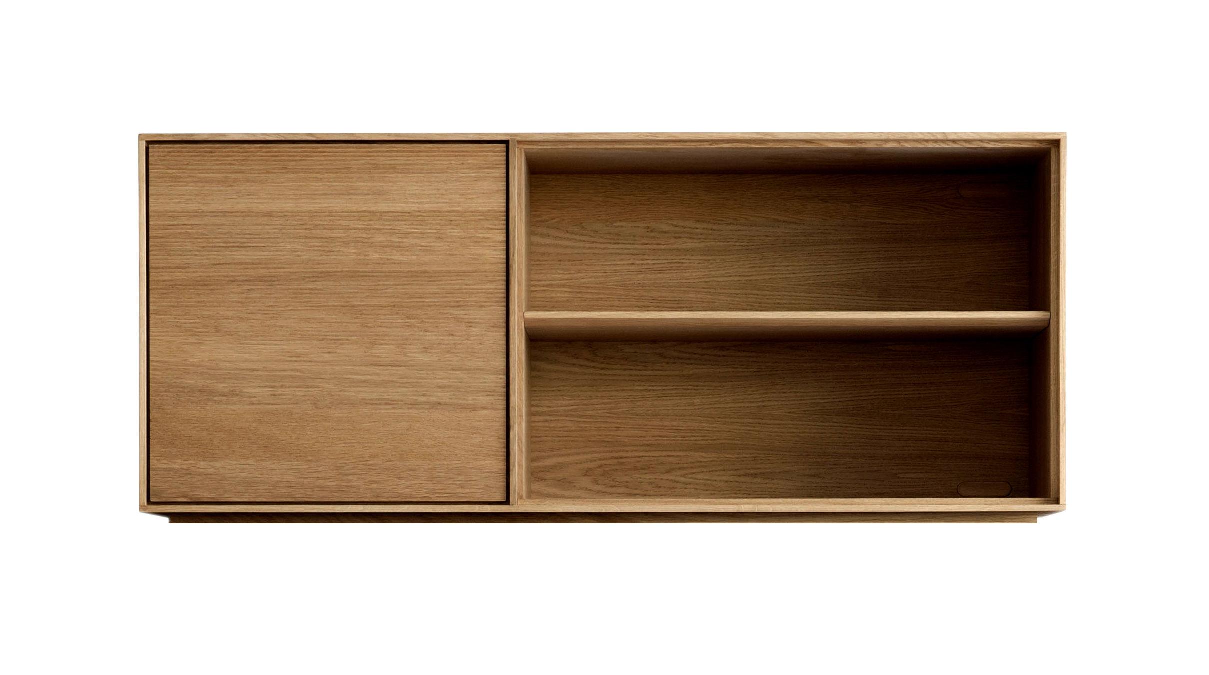 Furniture - Dressers & Storage Units - Modulo Stackable unit - / Intermediate - L 130 cm / Left door + 2 shelves by Ercol - Intermediate position / Oak - Solid oak