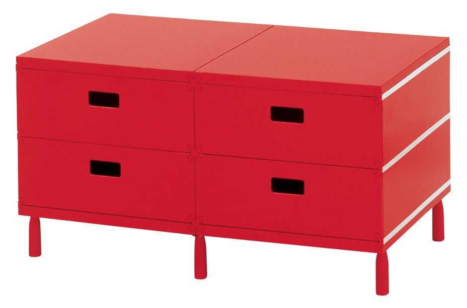 Furniture - Teen furniture - Plus Unit Storage - 4 drawers by Magis - Red - ABS