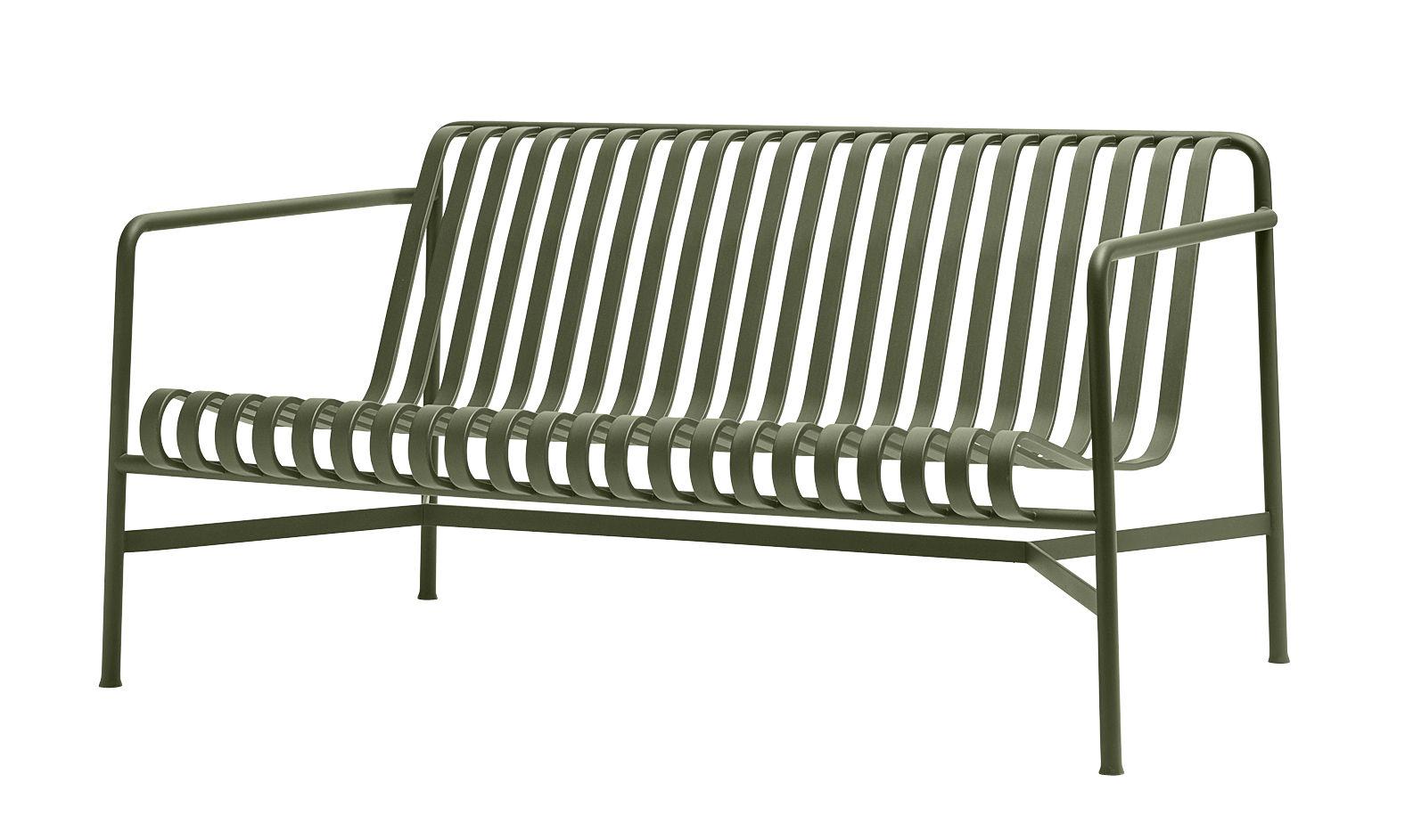 Outdoor - Sofas - Palissade Lounge Straight sofa - W 139 cm - R & E Bouroullec by Hay - Olive green - Electro galvanized steel, Peinture époxy