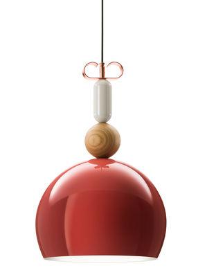 Luminaire - Suspensions - Suspension Bon Ton / Ø 35 cm - Exclusivité - Torremato - Rose antique brillant - Aluminium verni, Chêne