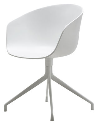 Furniture - Chairs - About a chair Swivel armchair - 4 legs by Hay - White / White feet - Lacquered cast aluminium, Polypropylene