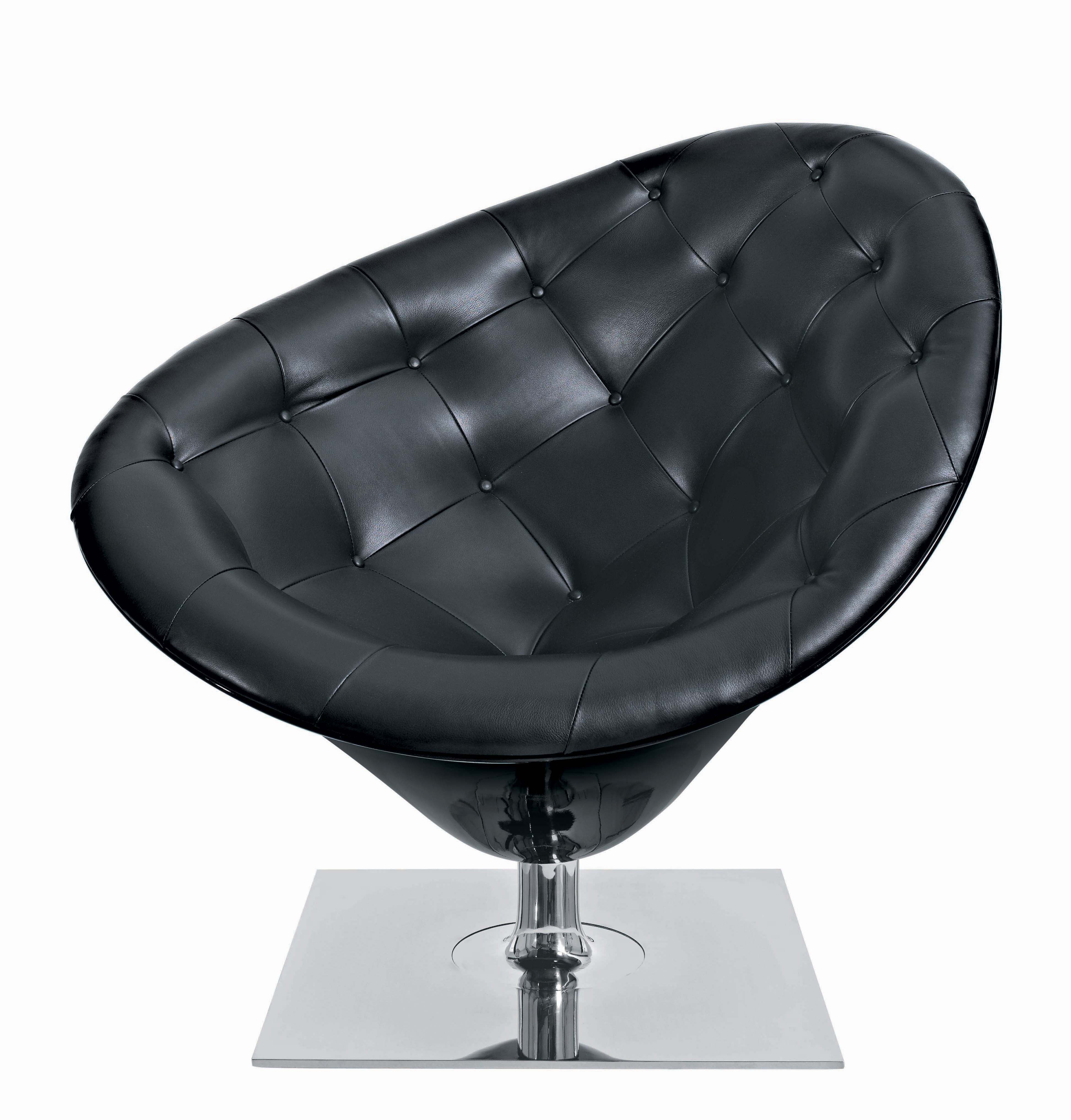 Furniture - Exceptional furniture - MOORe Swivel armchair - Leather version by Driade - Black leather - Fibreglass, Full grain leather, Polished steel