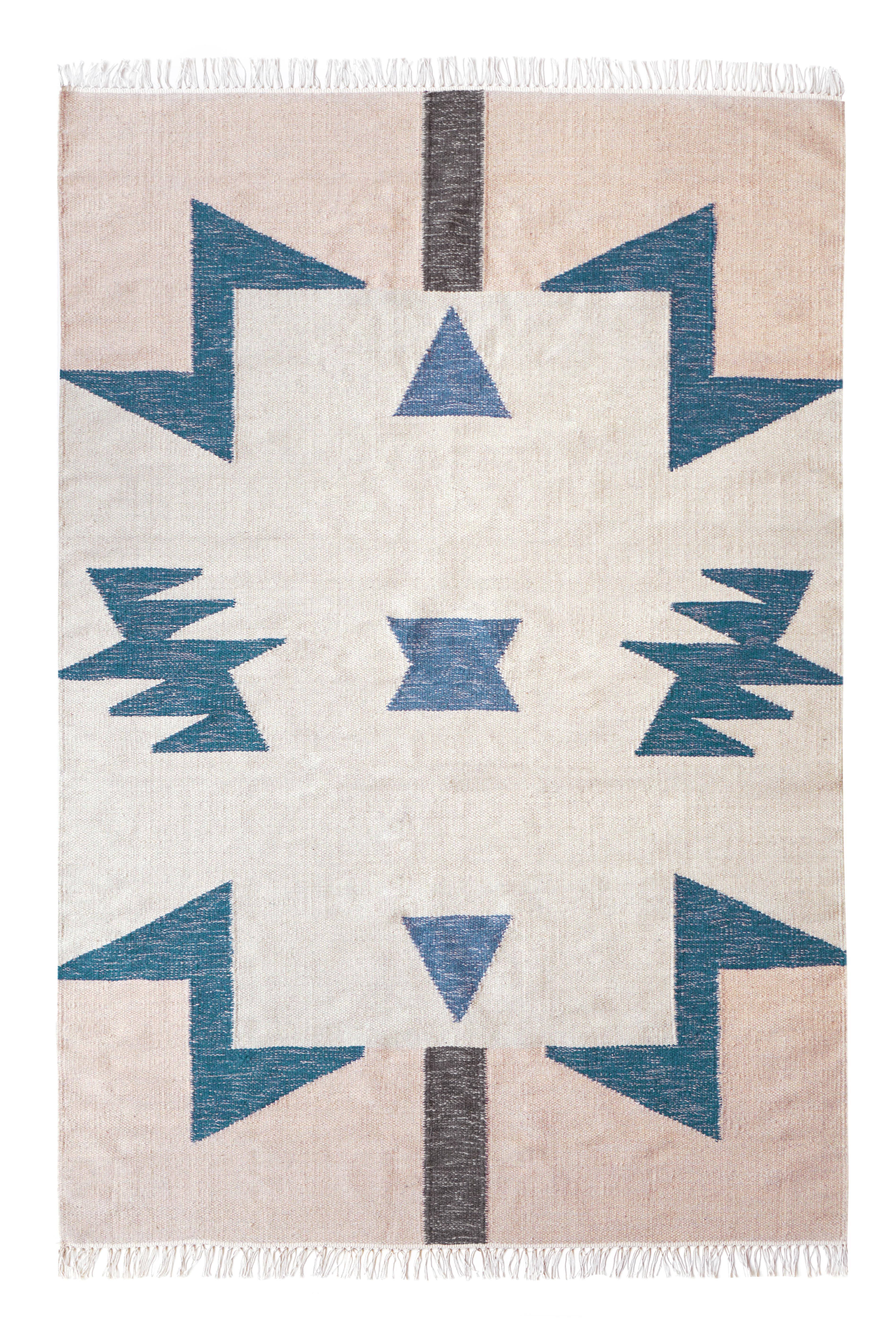 Déco - Tapis - Tapis Kelim Blue Triangles / 200 x 140 cm - Ferm Living - 200 x 140 cm / Multicolore - Coton, Laine