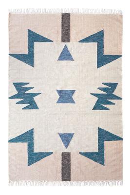 Interni - Tappeti - Tappeto Kelim Blue Triangles / 200 x 140 cm - Ferm Living - 200 x 140 cm / Multicolore - Cotone, Lana