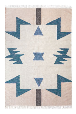 Kelim Blue Triangles Teppich / 200 x 140 cm - Ferm Living - Blau,Rosa,Braun,Beige
