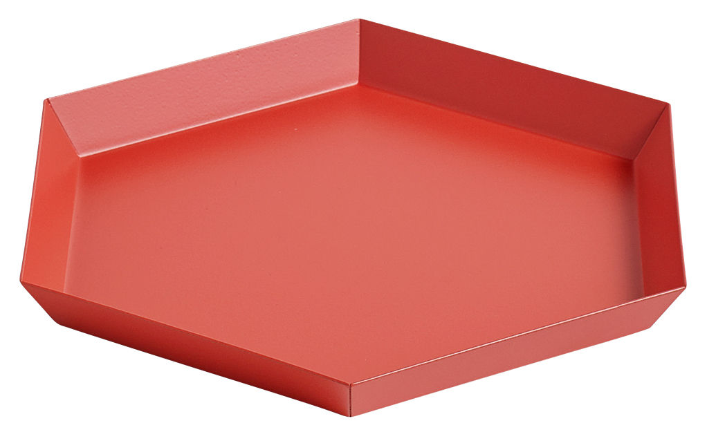 Tableware - Trays - Kaleido Small Tray - 22 x 19 cm by Hay - Red - Painted steel