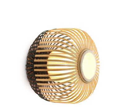 Lighting - Wall Lights - Bamboo light S Wall light - Ceiling lamp - Ø 35 x H 23 cm by Forestier - Black / Natural - Fabric, Natural bamboo