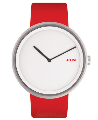 Accessories - Watches - Out time Watch by Alessi Watches - Red - Leather, Stainless steel