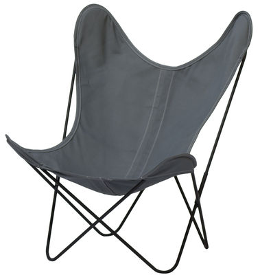 Furniture - Armchairs - AA Butterfly OUTDOOR Armchair by AA-New Design - Black frame / Ash grey cover - Outdoor treated cotton, Powder coated steel