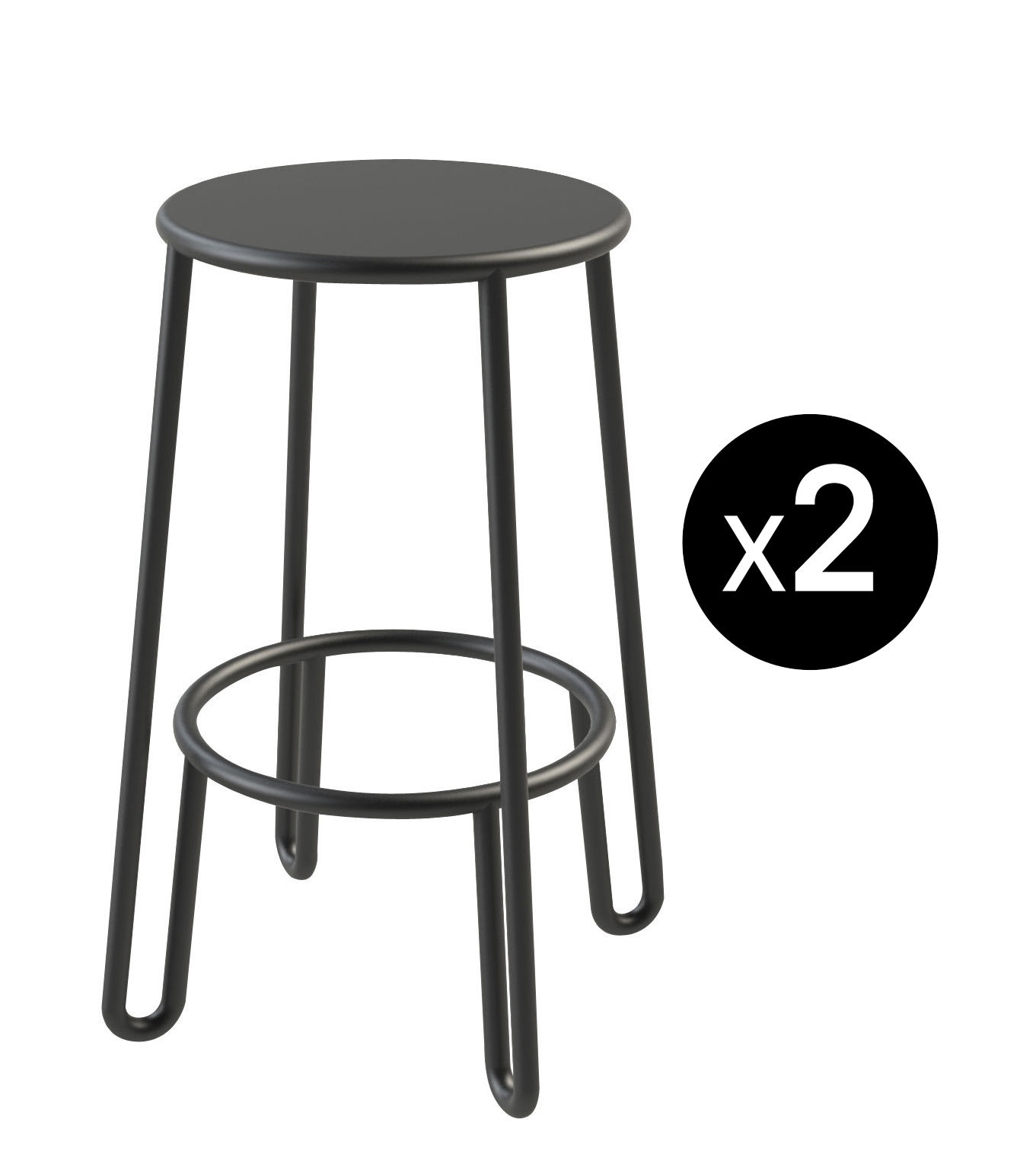 Furniture - Bar Stools - Huggy Bar stool - / H 65 cm - Set of 2 by Maiori - Carbon - Lacquered aluminium