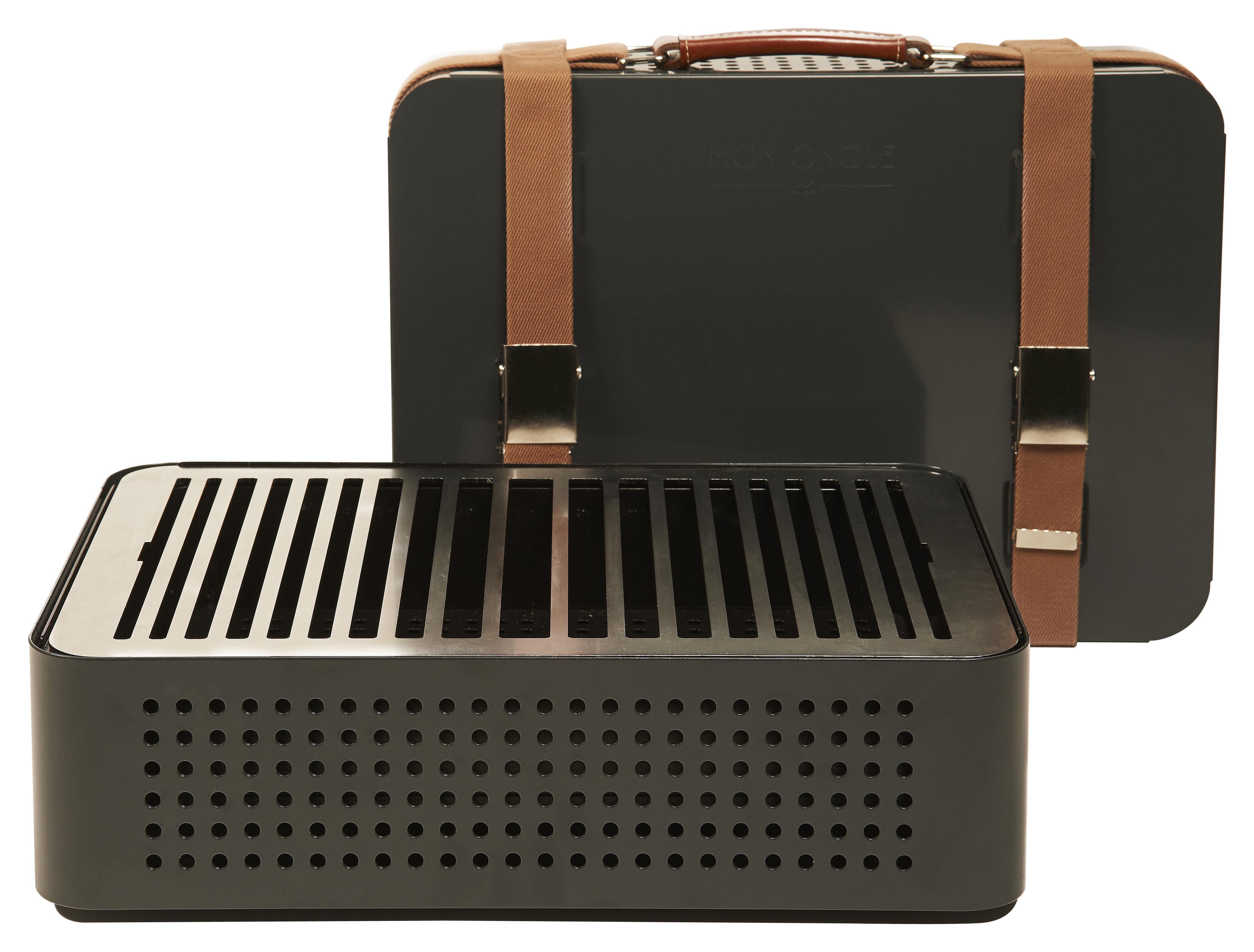Outdoor - Barbecue - Barbecue portatile a carbone Mon Oncle - / Portatile - 44 x 32 cm di RS BARCELONA - Grigio - Acciaio inossidabile verniciato, Pelle, Tessuto