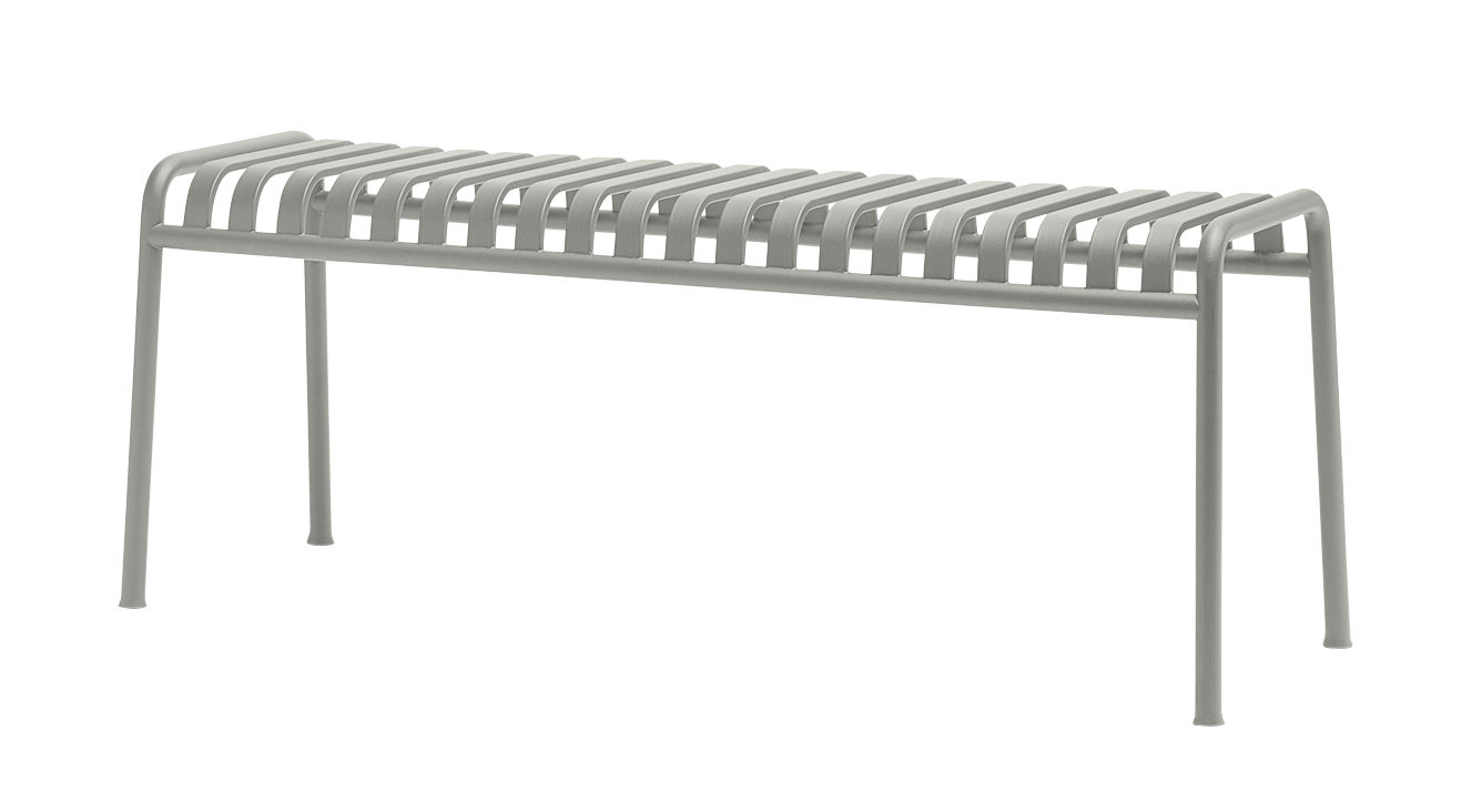 Furniture - Benches - Palissade Bench - W 120 cm - R & E Bouroullec by Hay - Light grey - Electro galvanized steel, Peinture époxy