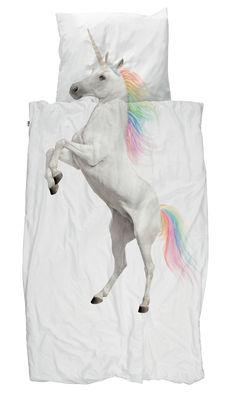 Dekoration - Für Kinder - Licorne Bettwäsche-Set für 1 Person / 140 x 200 cm - Snurk - Einhorn - Percale de coton
