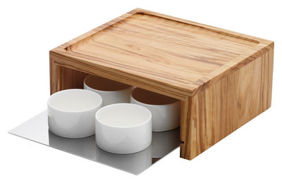 Bol Festa Lot de 4 bols - Set petit déjeuner - Serafino Zani blanc,bois clair,métal mat en céramique
