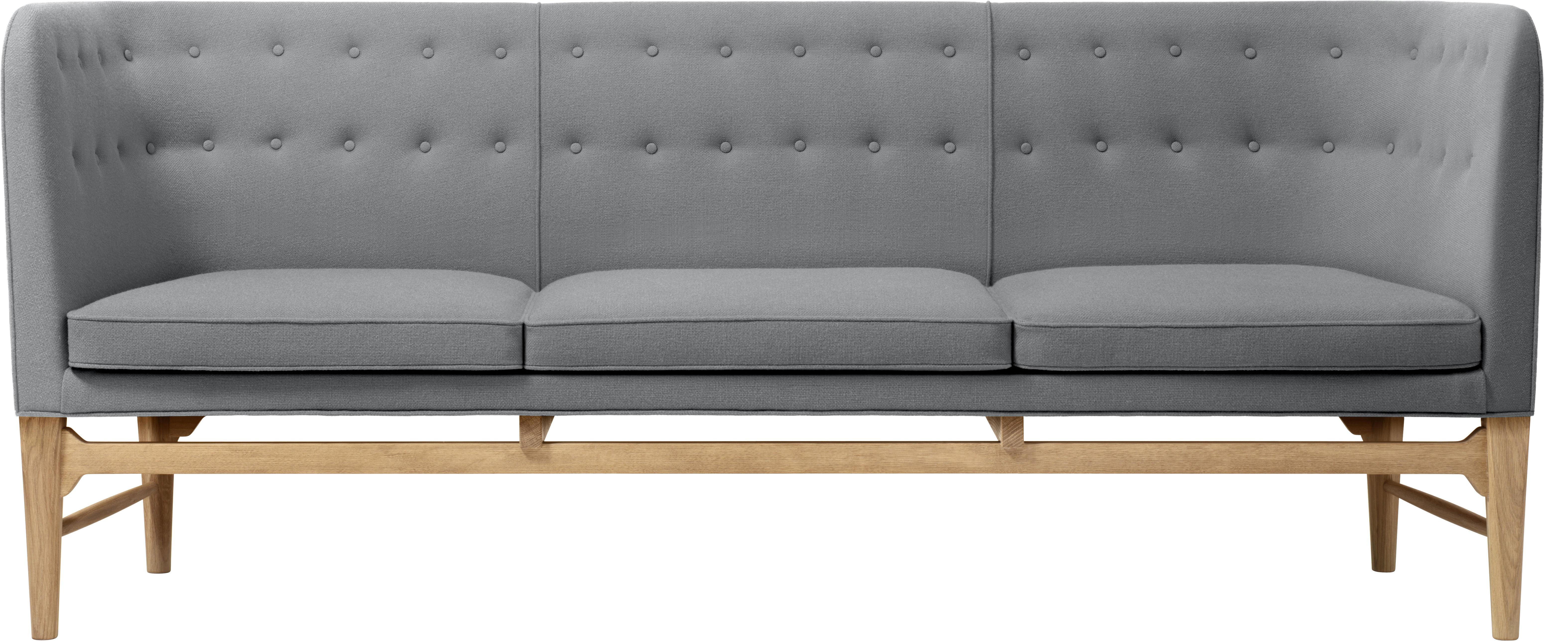 Mobilier - Canapés - Canapé droit Mayor Sofa by Arne Jacobsen / 3 places -L 200 cm - &tradition - Gris - Chêne massif, Mousse, Tissu Kvadrat