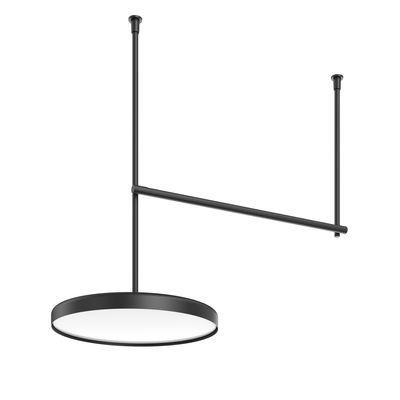 Lighting - Ceiling Lights - Infra-Structure Episode 2_C3 Ceiling light - / Tube L 120 cm + Disk Ø 60 cm by Flos - Black - Aluminium, Opal polycarbonate