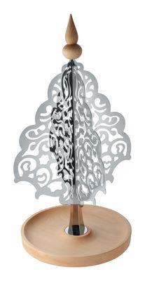 Centre de table Dressed for X-mas / Décoration Sapin - H 48 cm - Acier & bois - Alessi acier poli,hêtre naturel en métal