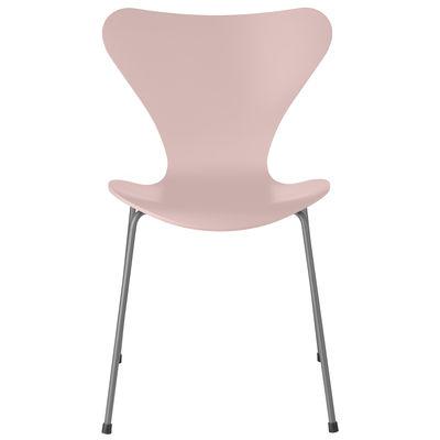 Mobilier - Chaises, fauteuils de salle à manger - Chaise empilable Série 7 / Frêne teinté - Fritz Hansen - Rose pâle / Pieds chromés - Acier chromé, Contreplaqué de frêne teinté