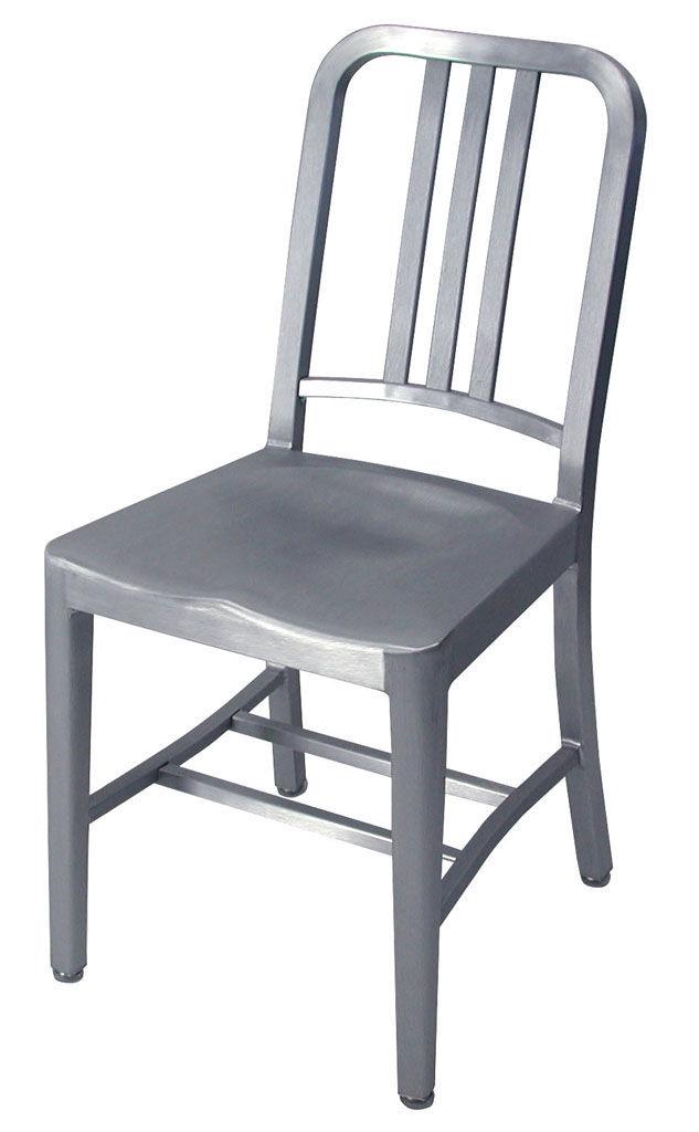 Mobilier - Chaises, fauteuils de salle à manger - Chaise Navy Outdoor / Aluminium brossé - Emeco - Alu brossé (outdoor) - Aluminium brossé recyclé