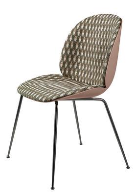 Chaise rembourrée Beetle / Gamfratesi - Plastique & tissu - Gubi rose,noir,beige en tissu
