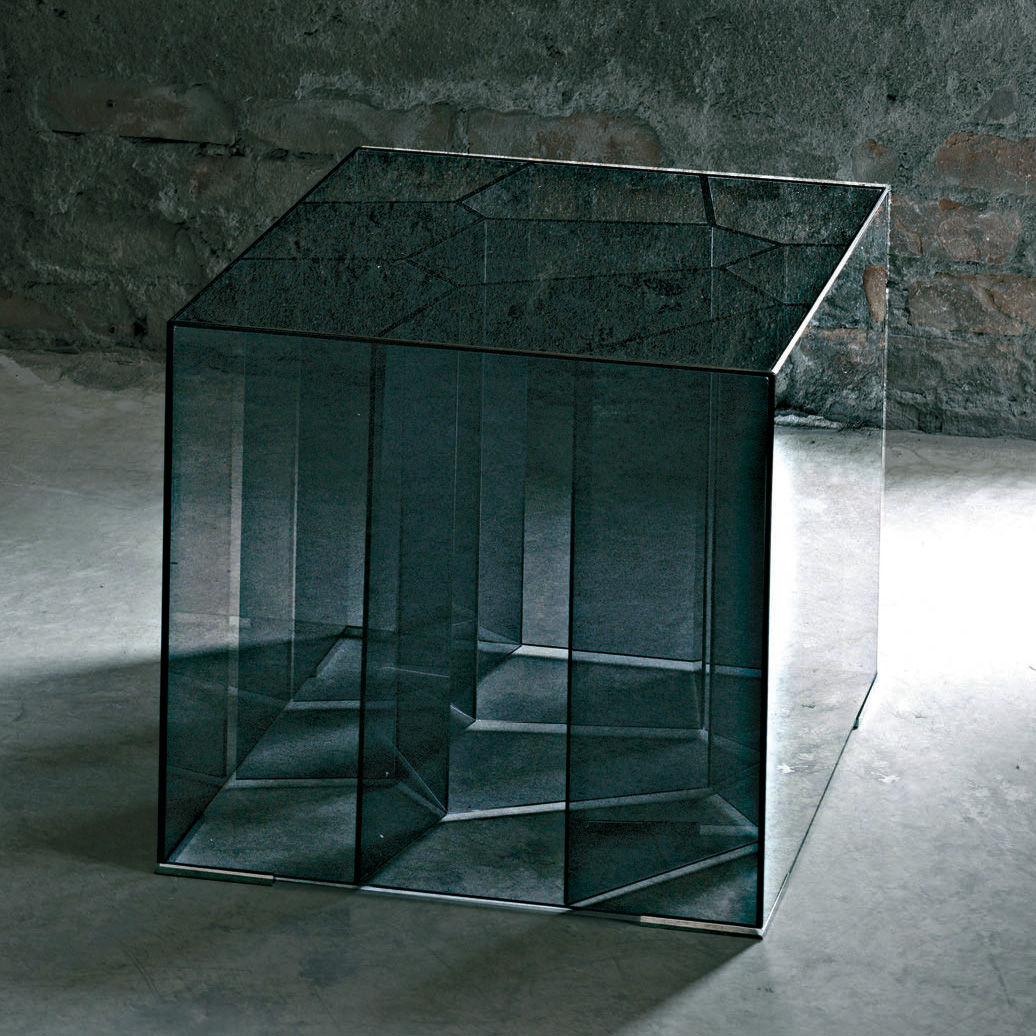 Furniture - Coffee Tables - Alice Coffee table - 50 x 50 cm by Glas Italia - Smoked glass - Tempered glass