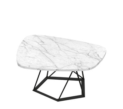 Furniture - Coffee Tables - Poliedrik Coffee table - / Marble - L 87 cm by Zeus - Copper black / White marble - Carrare marble, Epoxy painted steel